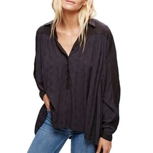 Free People Lovely Day Button Down in Black